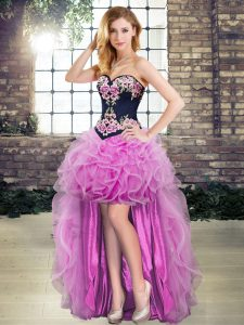Luxury Lilac A-line Appliques and Embroidery Evening Dress Lace Up Organza Sleeveless High Low