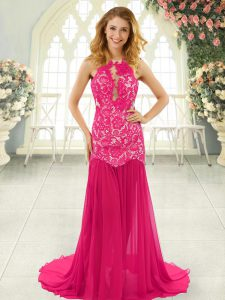 Hot Pink Sleeveless Lace Backless Womens Evening Dresses
