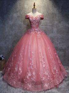 Sleeveless Floor Length Appliques Lace Up Quinceanera Dress with Watermelon Red