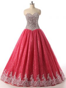 Coral Red Sweetheart Lace Up Beading and Appliques Quinceanera Gown Sleeveless