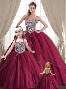 Suitable Red Quinceanera Gowns Military Ball and Sweet 16 and Quinceanera with Beading Sweetheart Sleeveless Lace Up