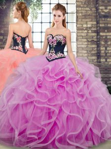 Top Selling Lilac Lace Up Sweetheart Embroidery and Ruffles 15 Quinceanera Dress Tulle Sleeveless Sweep Train