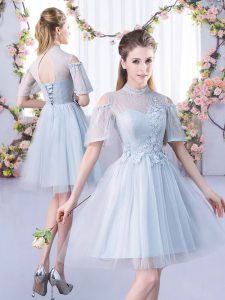Fancy Grey A-line High-neck Short Sleeves Tulle Mini Length Lace Up Lace Court Dresses for Sweet 16