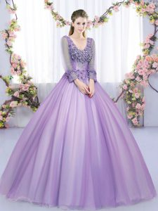 Lavender Zipper V-neck Lace and Appliques Sweet 16 Quinceanera Dress Tulle Long Sleeves