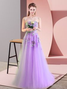 Customized Lavender Sweetheart Neckline Appliques Prom Party Dress Sleeveless Lace Up