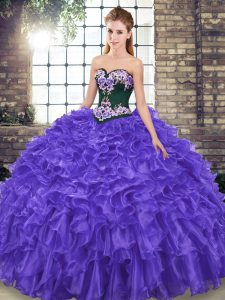 Stunning Sweep Train Ball Gowns Quinceanera Dress Purple Sweetheart Organza Sleeveless Lace Up