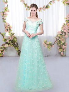 Stunning Apple Green Empire Off The Shoulder Cap Sleeves Tulle Floor Length Lace Up Appliques Court Dresses for Sweet 16