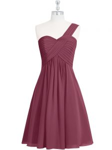 Burgundy Sleeveless Knee Length Ruching Zipper Prom Dress