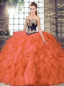 High Quality Orange Red Sweetheart Lace Up Beading and Embroidery Sweet 16 Quinceanera Dress Sleeveless