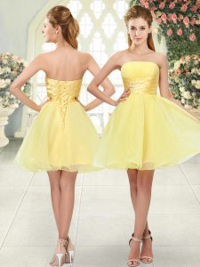 Organza Sleeveless Mini Length Prom Party Dress and Beading