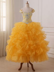 Off The Shoulder Sleeveless Lace Up Little Girls Pageant Dress Gold Organza