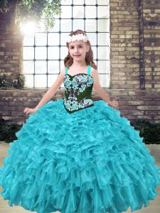 Aqua Blue and Turquoise Ball Gowns Straps Sleeveless Organza Floor Length Lace Up Embroidery and Ruffles Kids Pageant Dress