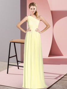 Trendy Empire Evening Gowns Yellow One Shoulder Chiffon Sleeveless Floor Length Lace Up