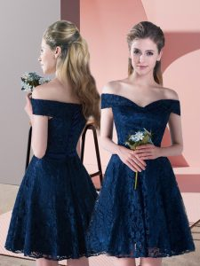 Navy Blue Lace Up Off The Shoulder Lace Prom Party Dress Sleeveless