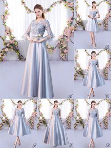 Adorable 3 4 Length Sleeve Floor Length Lace Lace Up Quinceanera Court Dresses with Silver