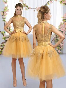 Pretty Gold Tulle Zipper Vestidos de Damas Cap Sleeves Knee Length Lace and Bowknot