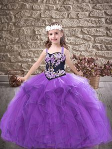 Purple Ball Gowns Straps Sleeveless Tulle Floor Length Lace Up Embroidery and Ruffles Child Pageant Dress