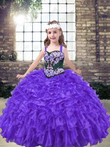 Organza Sleeveless Floor Length Girls Pageant Dresses and Embroidery