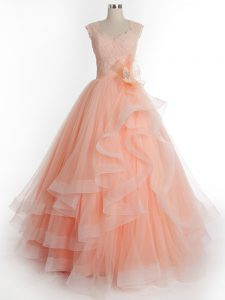 Ruffles Quinceanera Gown Peach Lace Up Sleeveless Floor Length