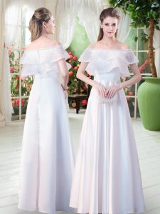 Short Sleeves Floor Length Lace Zipper Evening Gowns with White