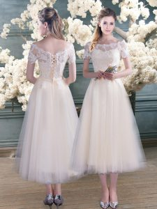 Scalloped Short Sleeves Lace Up Homecoming Dress White Tulle