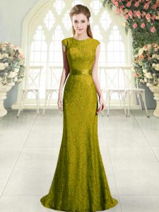 Gold Cap Sleeves Sweep Train Beading and Lace