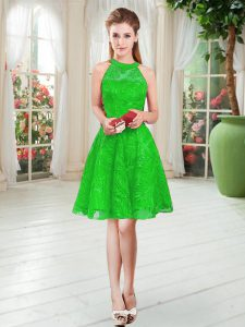 Dynamic Knee Length Green Prom Evening Gown Sleeveless Lace