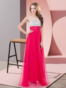Luxurious Chiffon Scoop Sleeveless Side Zipper Sequins Homecoming Dress in Coral Red