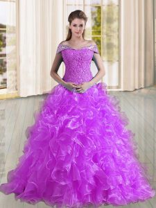 Modern Purple Lace Up Off The Shoulder Beading and Lace and Ruffles Quinceanera Dress Organza Sleeveless Sweep Train