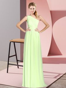 Trendy Yellow Green Lace Up Evening Party Dresses Ruching Sleeveless Floor Length