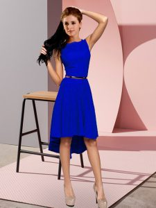 Free and Easy High Low Blue Dress for Prom Scoop Sleeveless Lace Up