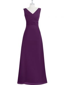 Floor Length Eggplant Purple Prom Gown Chiffon Sleeveless Ruching