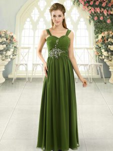 Luxurious Olive Green Lace Up Spaghetti Straps Beading and Ruching Dress for Prom Chiffon Sleeveless