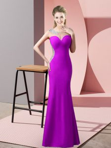 Sweep Train Mermaid Prom Dresses Purple Scoop Satin Sleeveless Floor Length Zipper