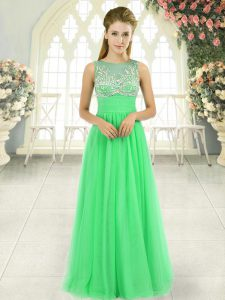 Sleeveless Floor Length Beading Backless Prom Evening Gown