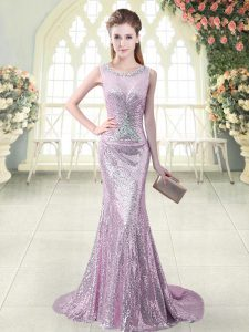 Vintage Sequined Scoop Sleeveless Brush Train Zipper Beading and Sequins Homecoming Dress in Lilac
