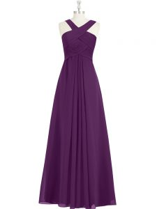 High Quality Sleeveless Chiffon Floor Length Zipper Prom Evening Gown in Eggplant Purple with Ruching