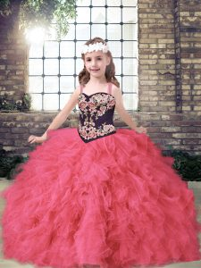 Floor Length Coral Red Little Girls Pageant Dress Wholesale Straps Sleeveless Lace Up