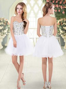 Dramatic Mini Length White Prom Evening Gown Sweetheart Sleeveless Lace Up