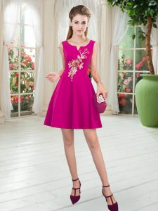Fuchsia Zipper Scoop Appliques Prom Gown Satin Sleeveless