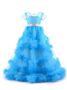 Baby Blue V-neck Neckline Beading and Ruffles Girls Pageant Dresses Short Sleeves Backless