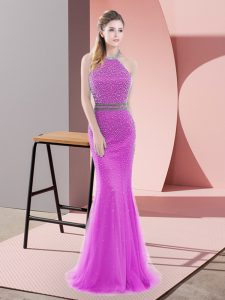 Glorious Brush Train Mermaid Prom Gown Lilac Halter Top Tulle Sleeveless Backless