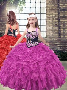 Straps Sleeveless Little Girl Pageant Gowns Floor Length Embroidery and Ruffled Layers Fuchsia Organza