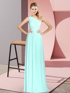 Empire Prom Dress Apple Green One Shoulder Chiffon Sleeveless Floor Length Lace Up