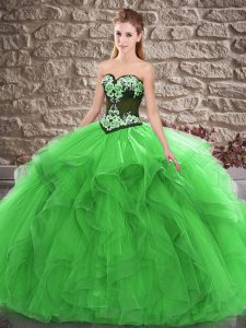 Adorable Green Lace Up Vestidos de Quinceanera Beading and Embroidery Sleeveless Floor Length