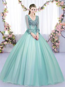 Long Sleeves Lace and Appliques Lace Up 15th Birthday Dress