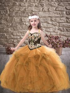Admirable Sleeveless Lace Up Floor Length Embroidery and Ruffles Kids Pageant Dress