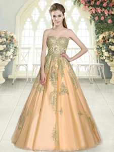 Peach Sweetheart Neckline Appliques Prom Gown Sleeveless Lace Up