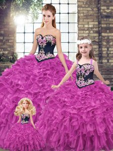 High Quality Fuchsia Lace Up Quinceanera Gown Embroidery and Ruffles Sleeveless