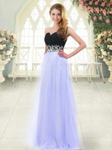 Baby Blue Zipper Sweetheart Appliques Prom Party Dress Tulle Sleeveless
